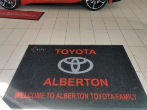 A customised branded mats at Toyota dealership