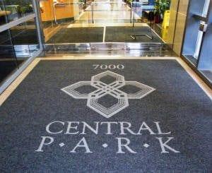a big a hotel entrance logo mat